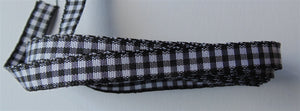 Black & White Gingham Ribbon - 4m