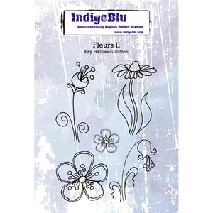 Indigoblu Fleurs II A6 Red Rubber Stamp Set