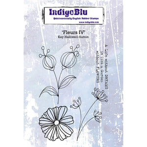 IndigoBlu Fleurs IV A6 Red Rubber Stamp Set
