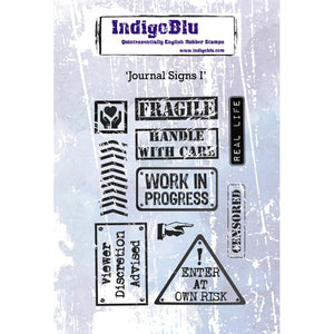 Indigoblu Journal Signs I A6 Red Rubber Stamp Set