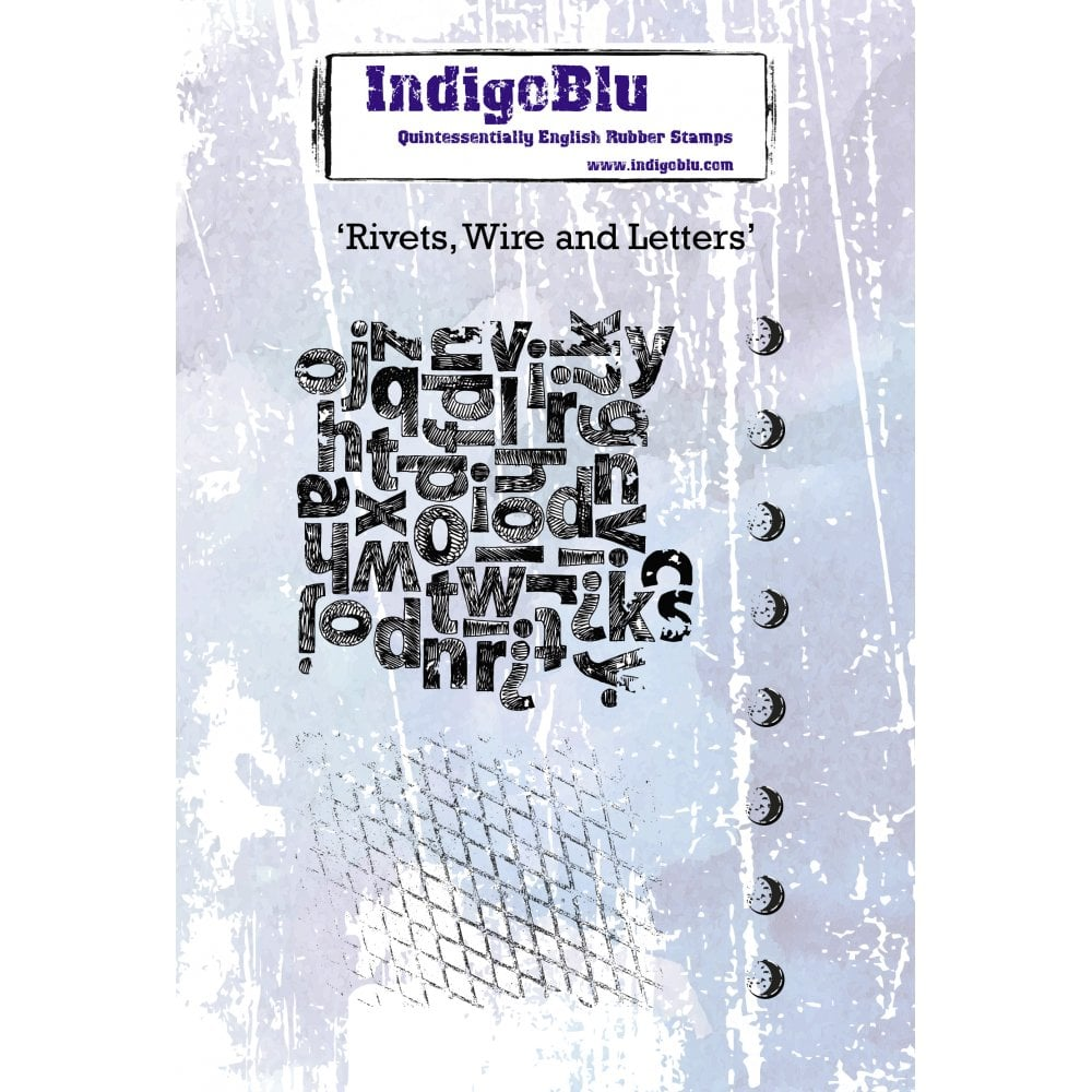 Indigoblu Rivets, Wire and Letters A6 Red Rubber Stamp Set