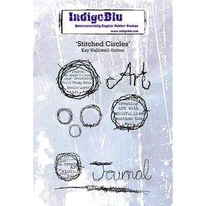Indigoblu Stitched Circles A6 Red Rubber Stamp Set