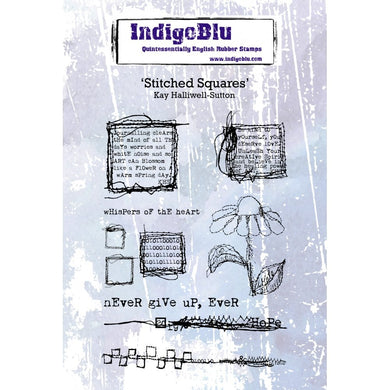 Indigoblu Stitched Squares A6 Red Rubber Stamp Set