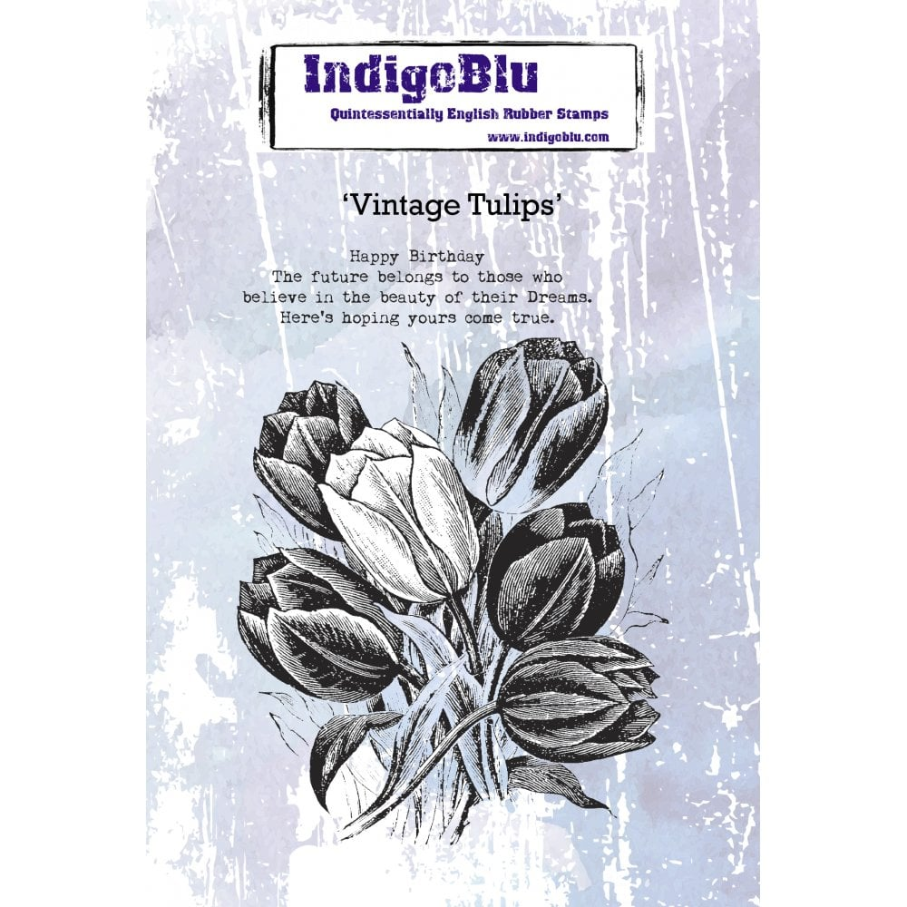 IndigoBlu Vintage Tulips A6 Red Rubber Stamp Set