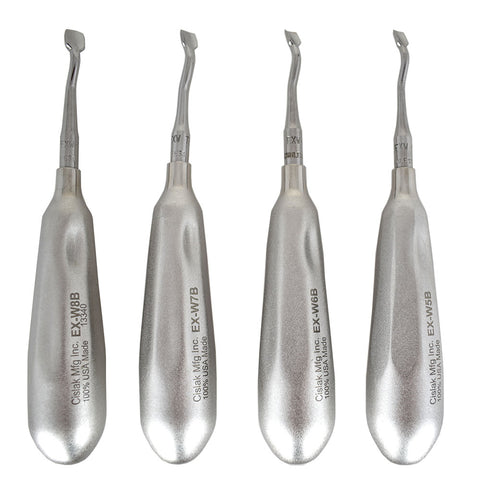 Shop online for the veterinary dental Cislak Back-Bent Winged Elevator Kit (4 pieces). Made from stainless steel and available for purchase in XS and REG.