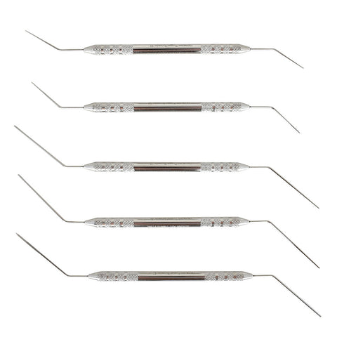 Veterinary dental Holmstrom Double-Ended Plugger/Spreader Set (5 pieces). Made from stainless steel & available for purchase at Serona.ca