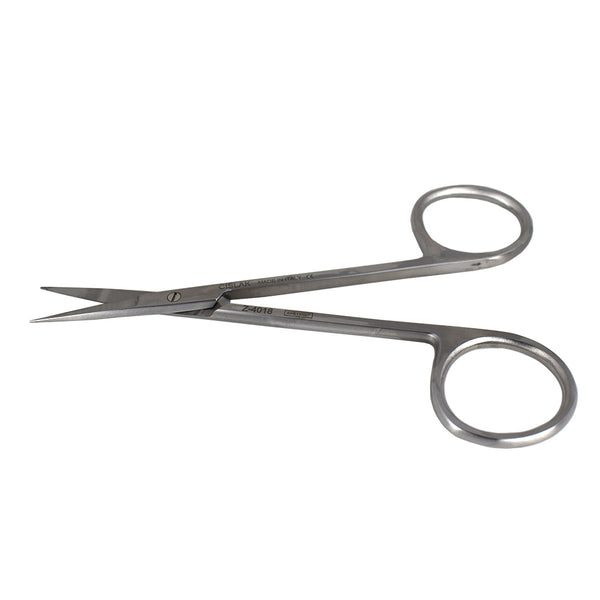 "Shop online at Serona for the veterinary dental Cislak Iris Straight Scissors (11.5 cm). Measurement: 3.50""/9.0cm. Available in Stainless Steel and Carbide."