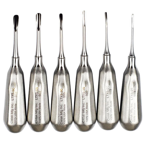 Shop online for the veterinary dental Cislak 6 Piece Luxator Kit, which is crafted from stainless steel and available for purchase in X-Small and Regular.