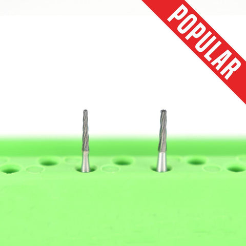 Shop online at Serona.ca for the veterinary dental Brasseler FG Flat-End Taper Fissure Burs, which are available in various head sizes with a shank of 19mm.