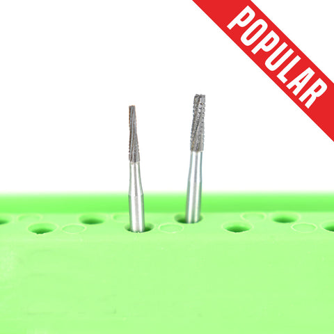 Shop online at Serona.ca for the veterinary dental Brasseler FG Long Flat-End Taper Cross-Cut Fissure Surgical Burs, which are available in various head sizes.