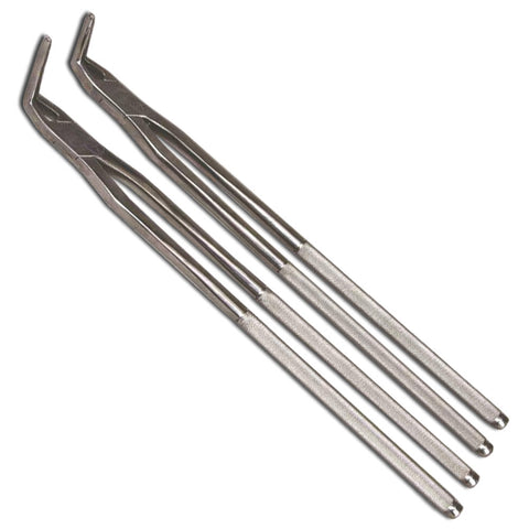Veterinary dental slim fragment forceps from MAI. These slim fragment forceps are available for purchase in 4 cm, 6 cm, and 8 cm tips.