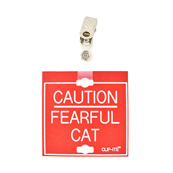 "Veterinary dental red with white text clip-its cage tag in ""Fearful Cat"" from MAI."