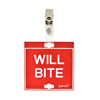 "Veterinary dental red with white text clip-its cage tag in ""Will Bite"" from MAI."