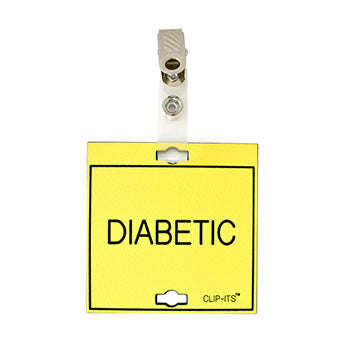 "Veterinary dental yellow with black text clip-its cage tag in ""Diabetic"" from MAI."
