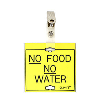 "Veterinary dental yellow with black text clip-its cage tag in ""No Food No Water"" from MAI."