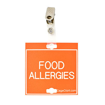 "Veterinary dental orange with white text clip-its cage tag in ""Food Allergies"" from MAI."