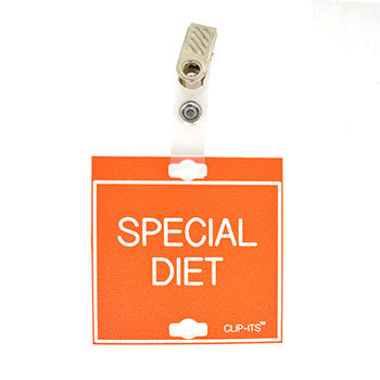 "Veterinary dental orange with white text clip-its cage tag in ""Special Diet"" from MAI."