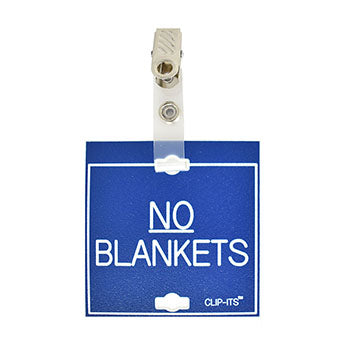 "Veterinary dental blue with white text clip-its cage tag in ""No Blankets"" from MAI."