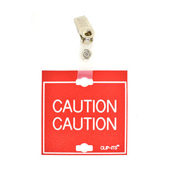 "Veterinary dental red with white text clip-its cage tag in ""Caution"" from MAI."