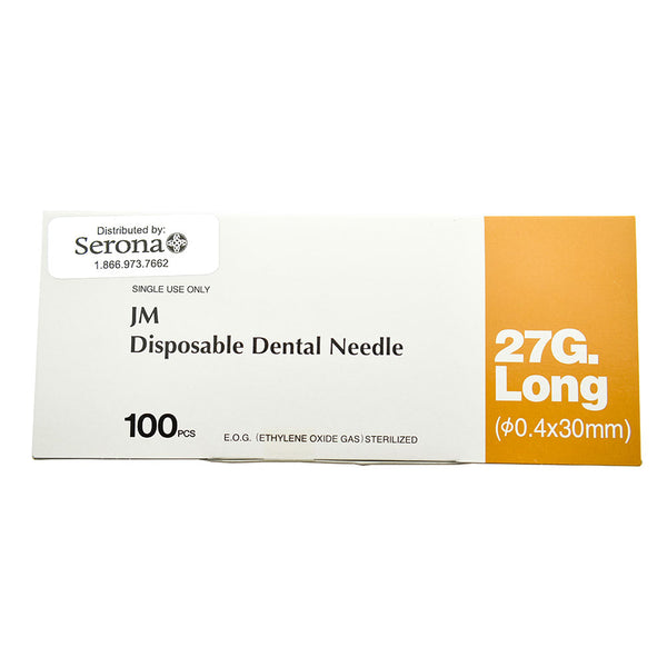 "Dental Needles, 27G x 30mm (1 1/5""), 100/box"