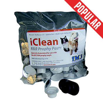 Veterinary dental iM3 iClean R&R Prophy Paste cups, available in 100 x 2g individual units with finger holder supplied.