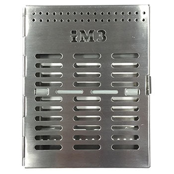 Shop online for the veterinary dental iM3 Large Stainless Steel Instrument Tray. Fits 6-8 elevators or a combination of instruments. Dimensions: 205 mm x 165mm x 30mm.