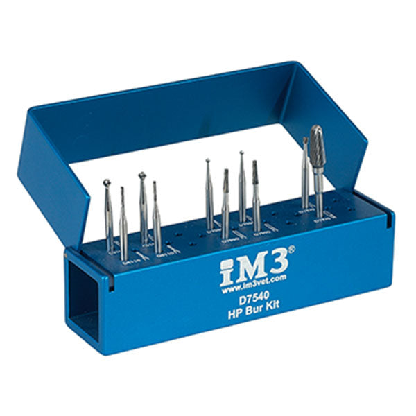 Shop online for the iM3 HP Dental Bur Kit. These burs are 44.5 mm long and provide the extra length needed for large companion, domestic, & exotic animals.