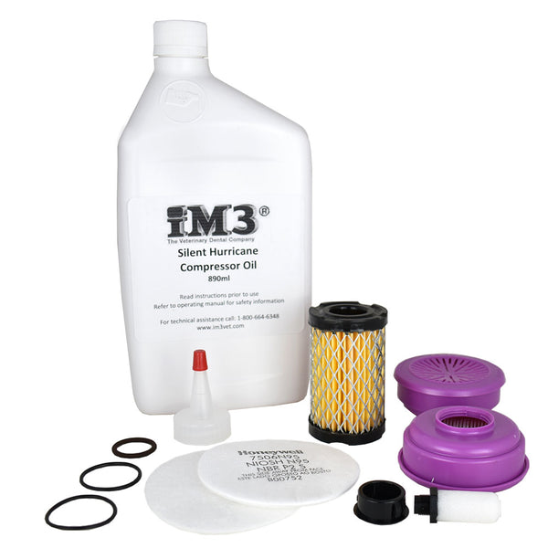 Shop online for the iM3 Dental Machine Maintenance Kit for oil compressors. Includes iM3 Silent Hurricane Compressor Oil, JUN-Air compressor oil, & Dentalaire compressor oil.