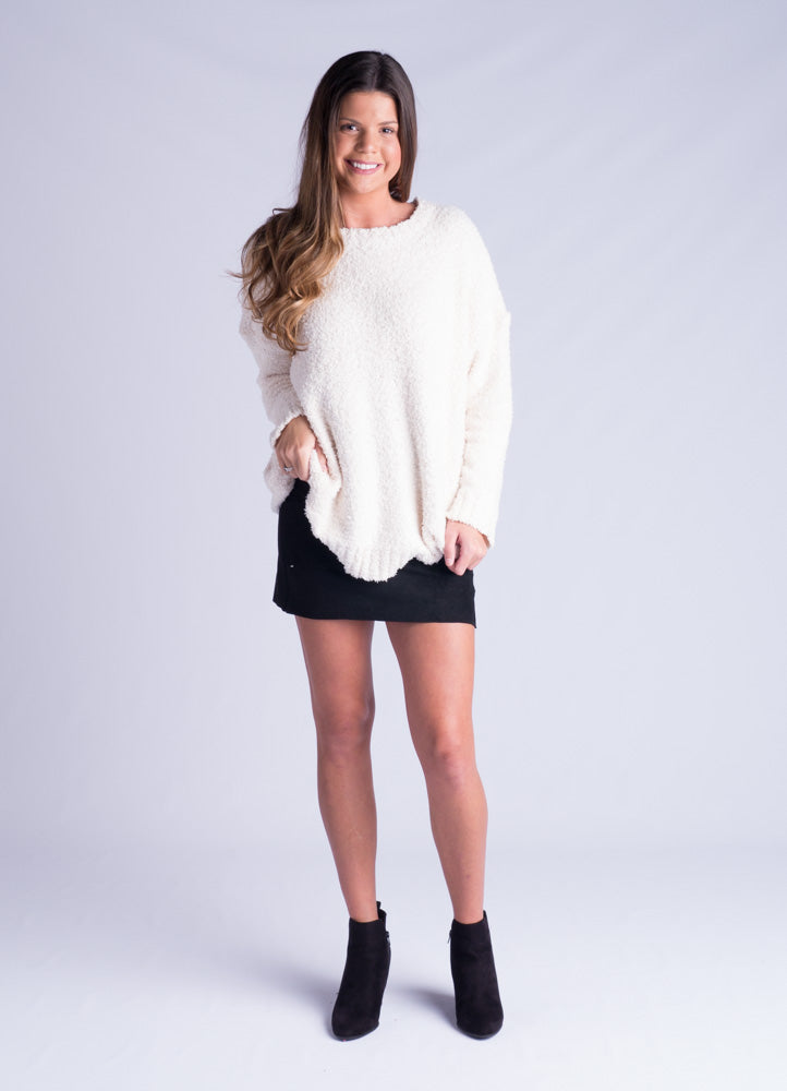 Cream Fuzzy Knit