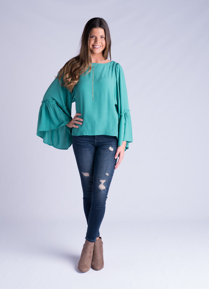 Seafoam Bell Sleeve Top