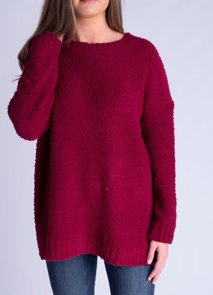 Wine Fuzzy Knit