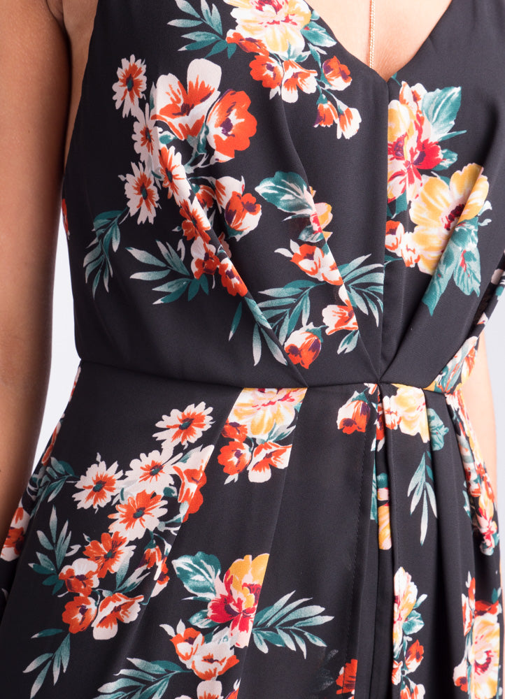 Hawaiian Black Floral Romper