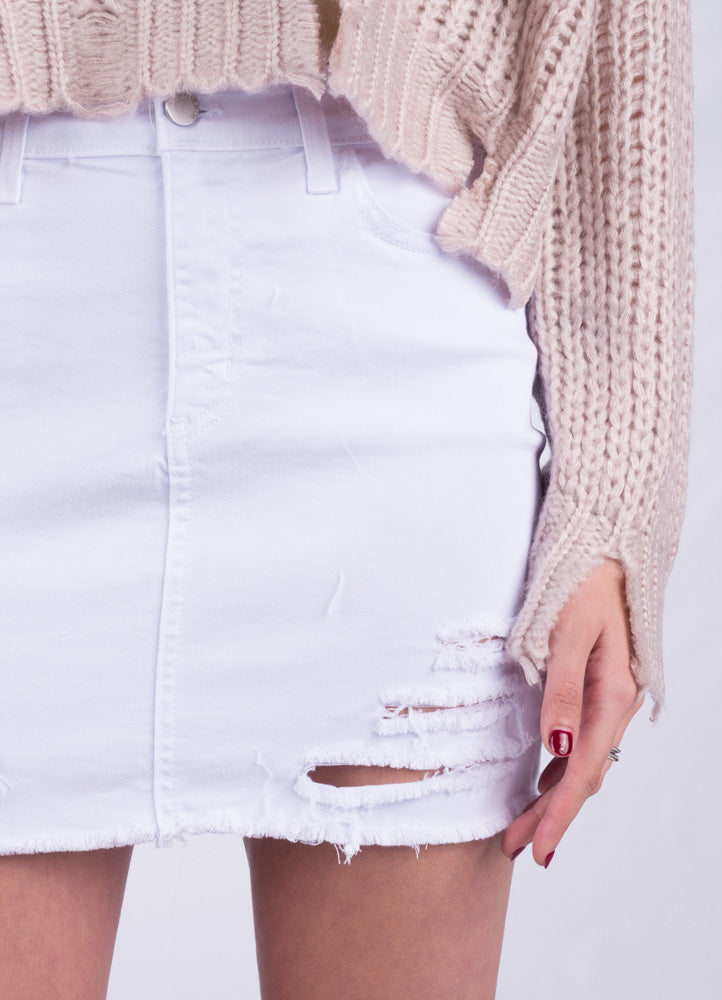 White Distressed Mini Skirt