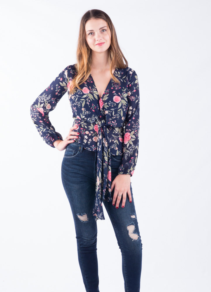 Spring Floral Tie Blouse