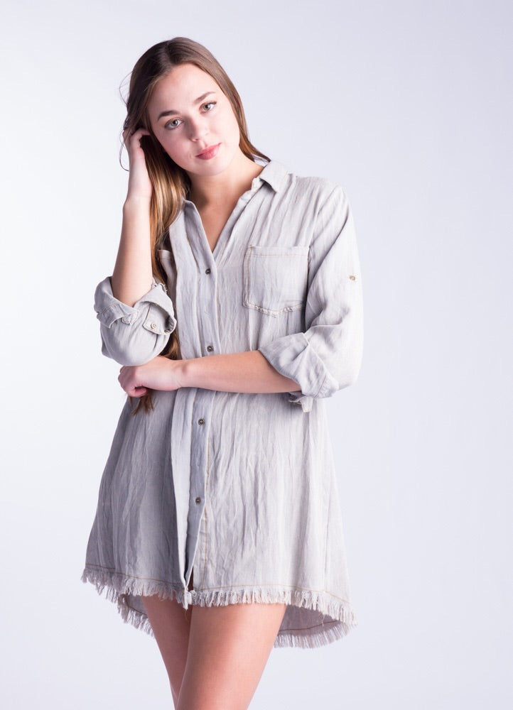 Cool Grey Button Down