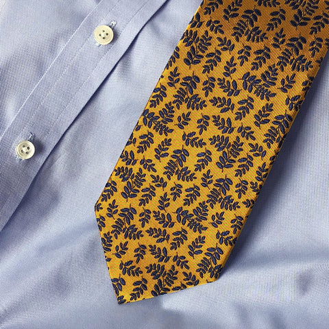 The Wynton tie worn with a blue shirt