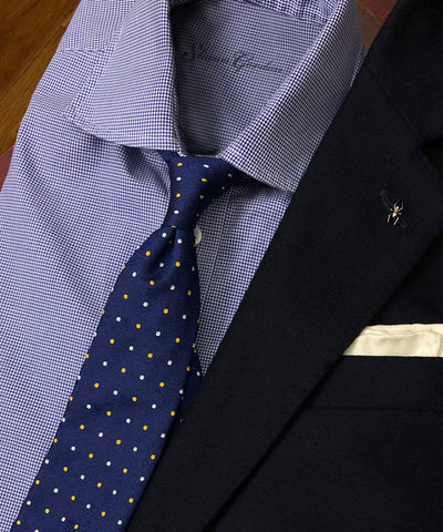 Clement blue spots handcrafted silk neckties