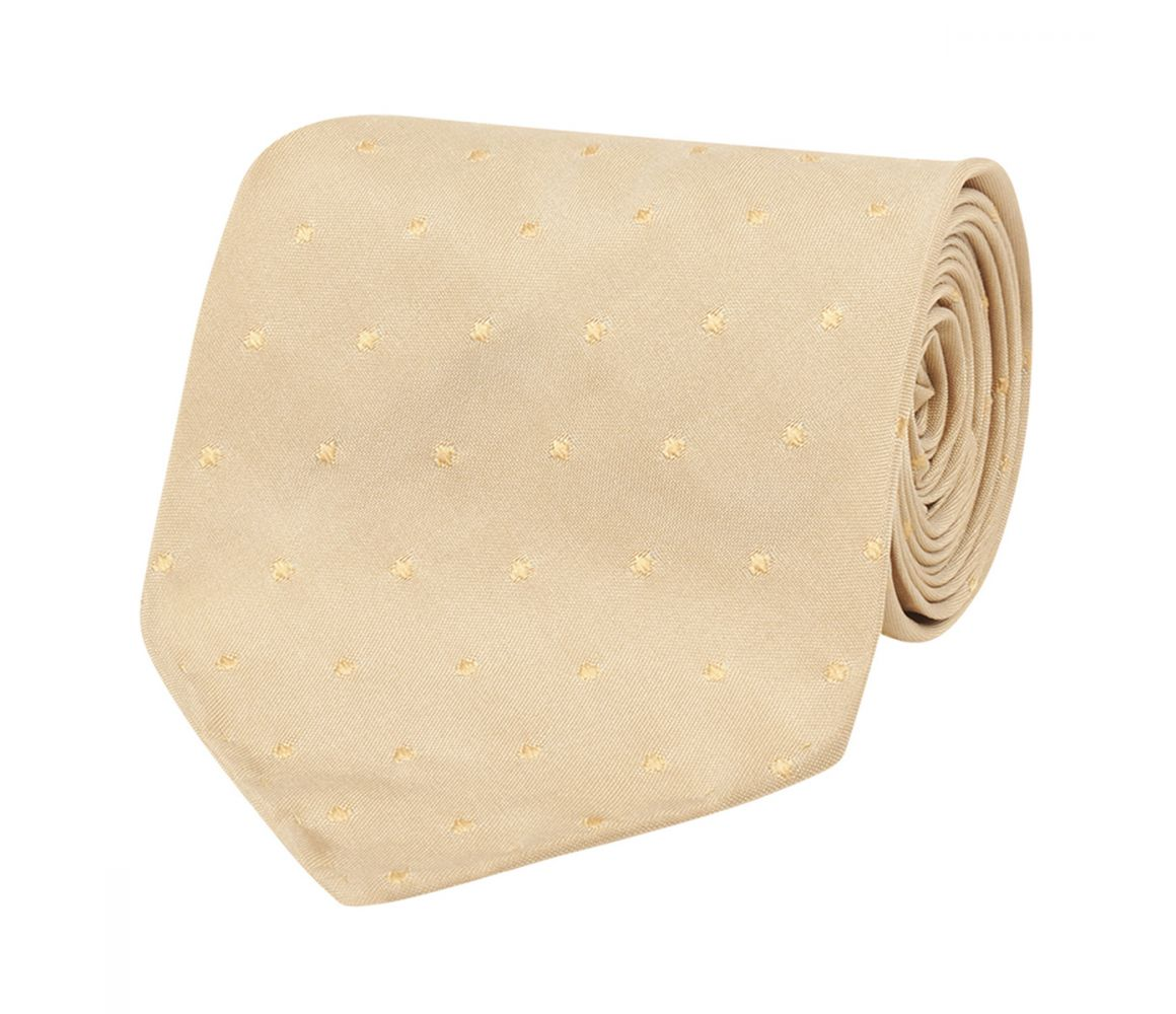 WILFRED GOLD SPOTTED MADE-TO-ORDER SILK TIE