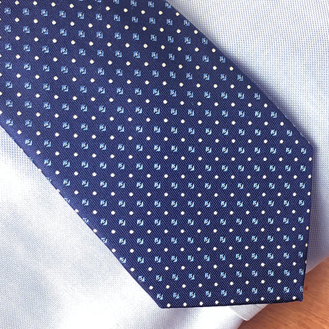 Blue Evan tie worn with blue shirt