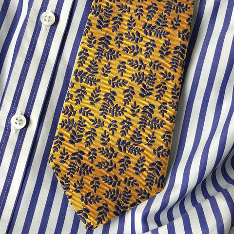 Shaun Gordon's Yellow Wynton Tie Styled With A Striped Shirt