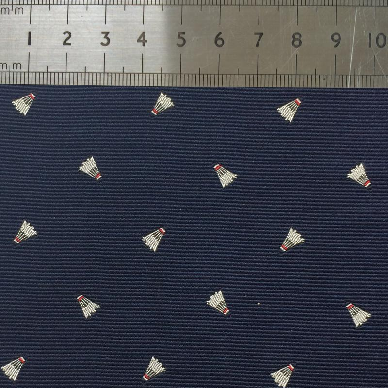 017 NAVY SHUTTLECOCK PATTERN SILK FABRIC Made To Order Fabrics Shaun Gordon