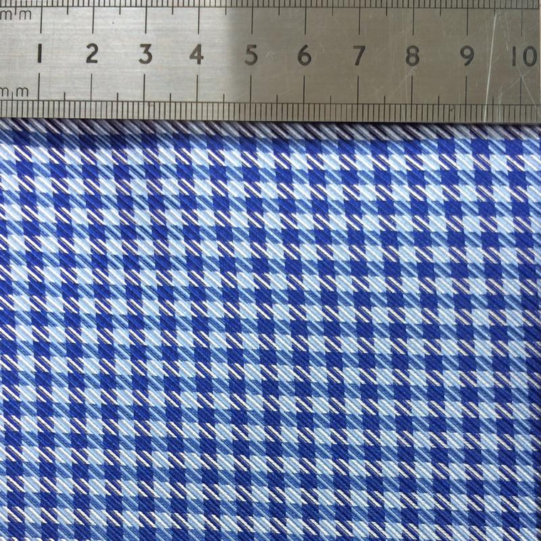 022 BLUE GINGHAM SILK FABRIC Made To Order Fabrics Shaun Gordon