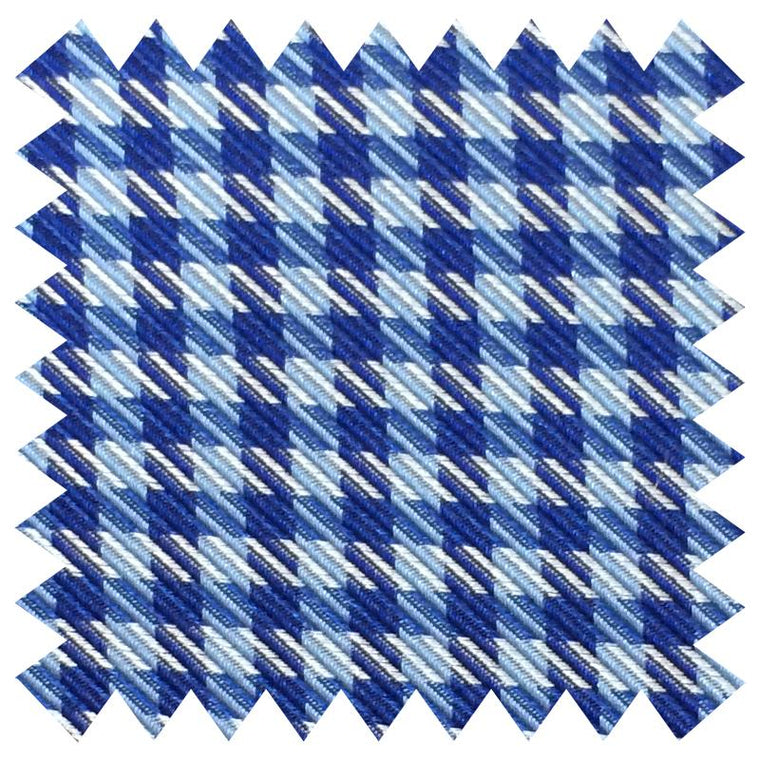 022 BLUE GINGHAM SILK FABRIC