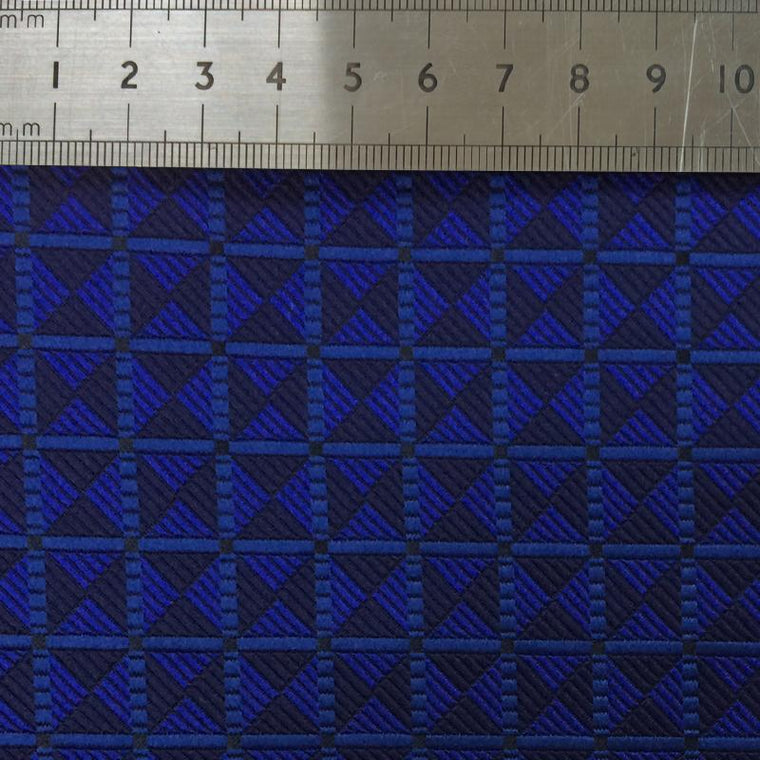 023 BLUE SQUARE CHECK SILK FABRIC Made To Order Fabrics Shaun Gordon
