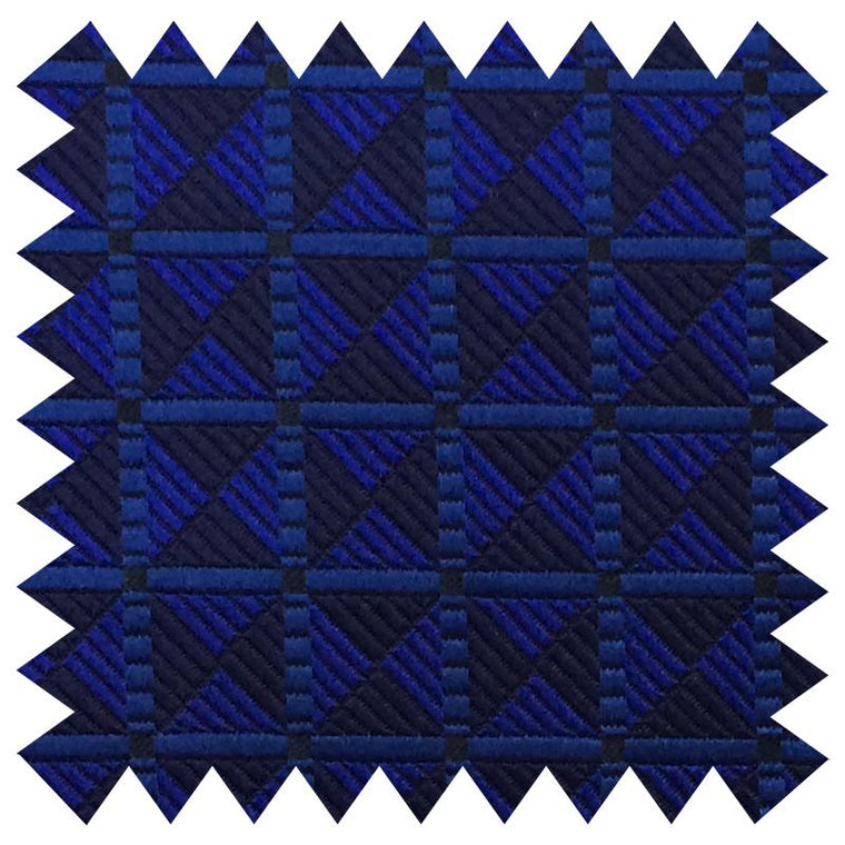 023 BLUE SQUARE CHECK SILK FABRIC