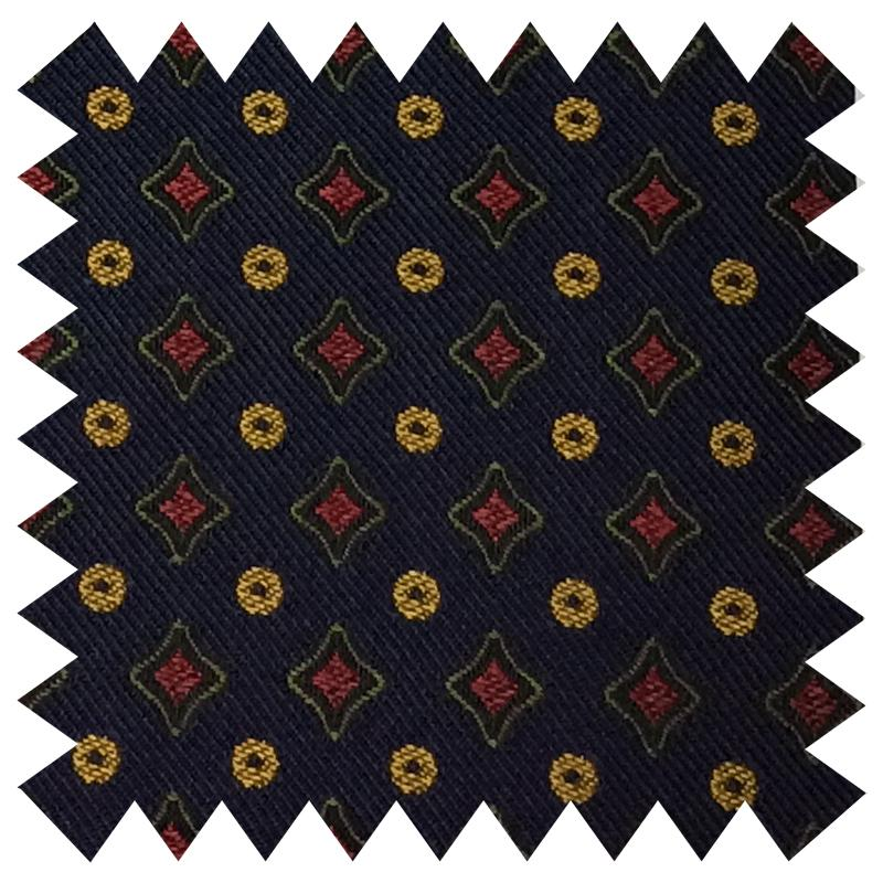 024 NAVY DIAMONDS AND SPOTS SILK FABRIC Made To Order Fabrics Shaun Gordon
