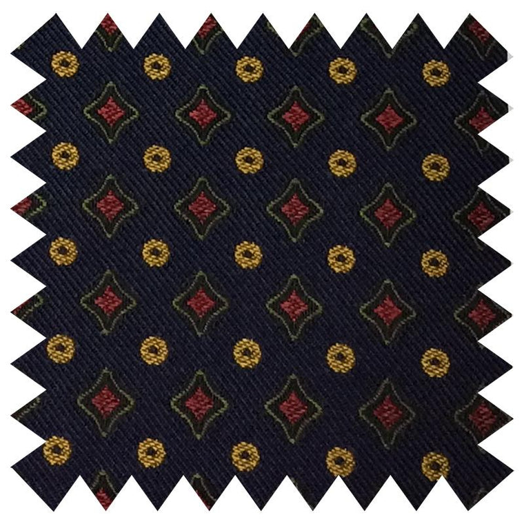 024 NAVY DIAMONDS AND SPOTS SILK FABRIC
