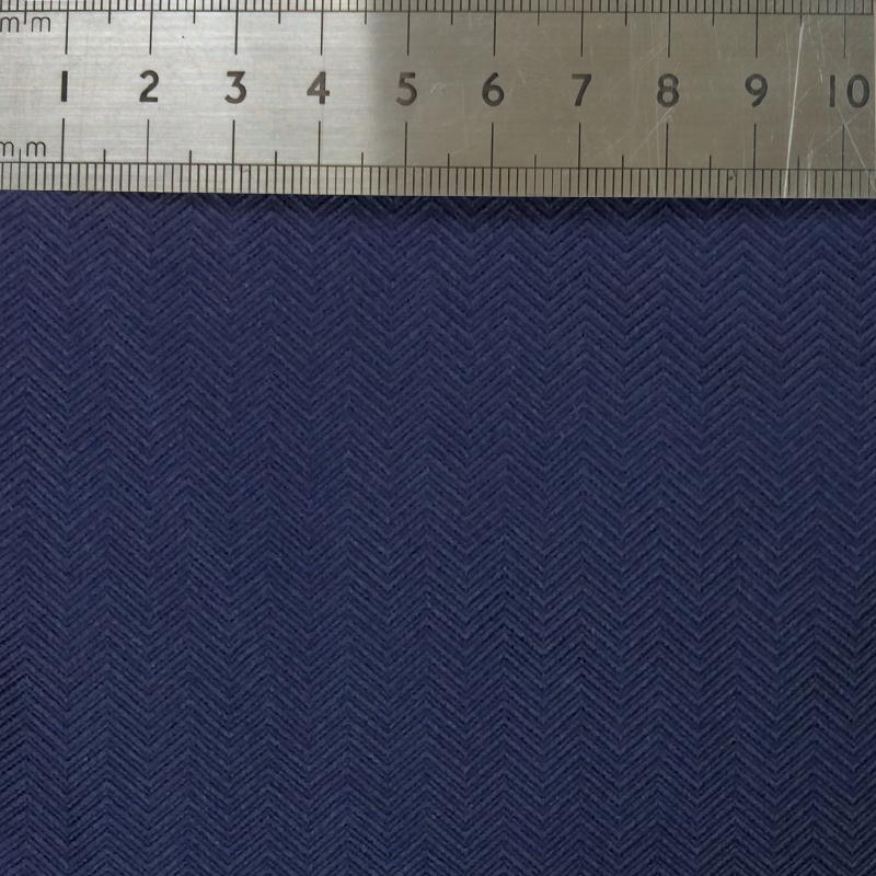 026 NAVY HERRINGBONE SILK FABRIC