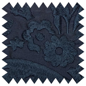 031 NAVY FLORAL EMBROIDERY SILK FABRIC Made To Order Fabrics Shaun Gordon