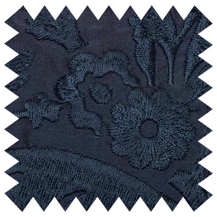031 NAVY FLORAL EMBROIDERY SILK FABRIC